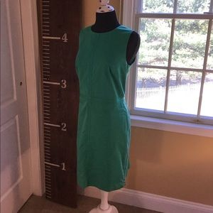 Green Work Dress with Gold Side Zipper Detail 👗